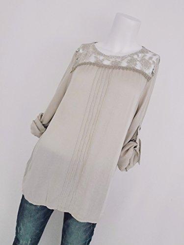 Trends für Dich - Camisas - Túnica - Floral - redondo - para mujer beige claro
