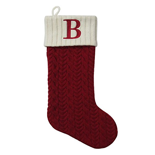 St. Nicholas Square 21 Inch Cable Knit Monogram Christmas Stocking (Embroidered B)