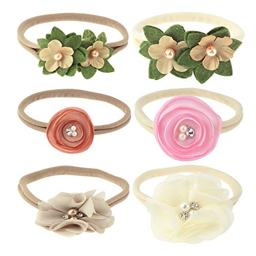 BQUBO Baby Rubber Headbands Hand Sewing Beads Flower Hair Bands, 6 -