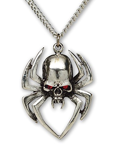 Gothic Spider Skull with Red Austrian Crystals Silver Finish Pendant Necklace