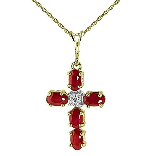 Galaxy Gold 14K Solid Yellow Gold Cross Necklace with Natural 1.75 Carat Ruby and Diamond -Size 24