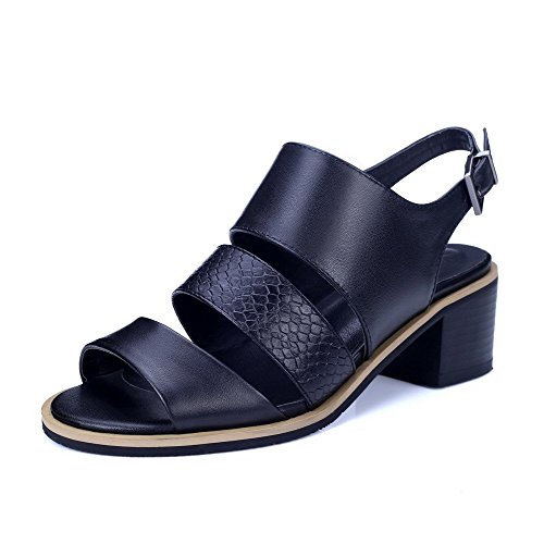 AllhqFashion Mujeres Material Suave Puntera Abierta Hebilla Tacón ancho Sólido Sandalia Negro