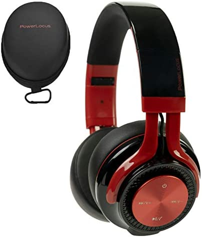 PowerLocus P3 Bluetooth Headphones Over-Ear, 26h Playtime, Bluetooth 5.0 Wireless Hi-Fi Stereo Headphone, Foldable with Mic, Deep Bass, Wired Mode for Cell Phones Laptop PC TV Black Red