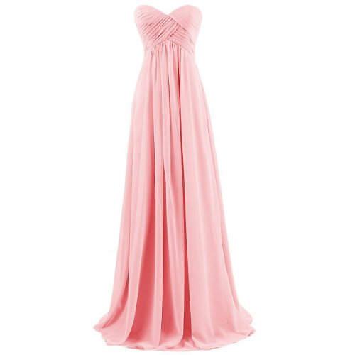 Gown Dress Chiffon Prom Sweetheart Long Pink BISLU Evening Bridesmaid Ua0xzpnUqw