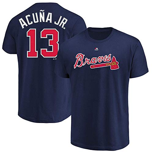 (Outerstuff MLB Youth Performance Team Color Player Name and Number Jersey T-Shirt (Medium 10/12, Ronald Acuña Jr Atlanta Braves) )