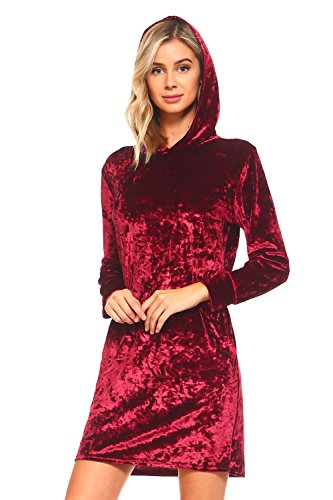 - ICONOFLASH Women's Crushed Velvet Hoodie Dress with Pockets (Wine Red, Medium)