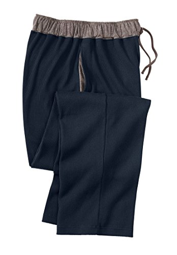 KingSize Men's Big & Tall Heavyweight Thermal Waffle Pajama Pants, Navy (Heavyweight Knit Pants)