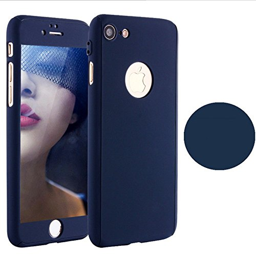 Price comparison product image iPhone 7 Plus 5.5 Inch Full Body Hard Case-Auroralove 360 Degree Full Protective Slim Sleek Front Back Case for iPhone 7 Plus 5.5 Inch with Tempered Glass Screen Protector (Darkblue)