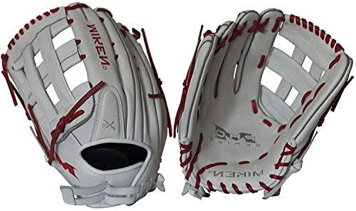 Miken Pro Series Slowpitch Softball Glove, 13.5 inch, White/Red Laces, Right Hand Throw
