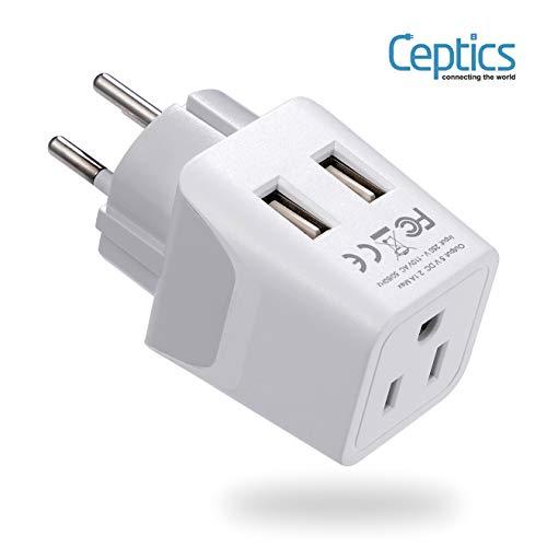 Ceptics Israel, Palestine Travel Adapter Plug with Dual USB - Usa Input - Type H - Ultra Compact -...