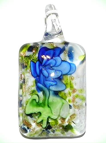 P1032 Blue Flower w Golden Bronze Sparkle 49mm Rectangle Lampwork Glass Pendant