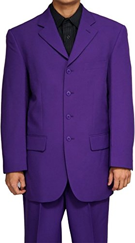 Mens Dress Fromal Single Breasted Light Weight Dark PURPLE - Suit Wet Outlet