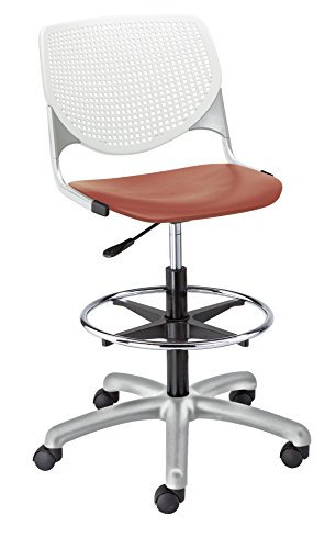 (KFI Seating Kool Poly Adjustable Drafting Stool with Perforated, White Back, Coral Seat)