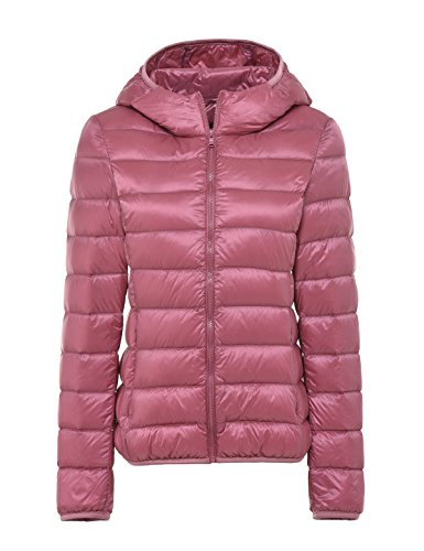 - CHERRY CHICK Women's Packable Down Hoodie with Wider Waist (Medium, Light Pink)