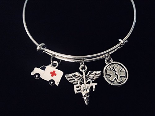 EMT Jewelry Medical Alert Caduceus Adjustable Bracelet Expandable Bangle Paramedic First Responder Ambulance One Size Fits All Gift Custom Options Available