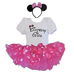 Birthday Girl T-Shirt with Polka Dot Tutu and Headband 3...