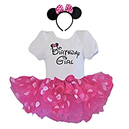 Birthday Girl T-Shirt with Polka Dot Tutu and Headband 3 PCs Set (Age 3, Fuchsia and White dots)