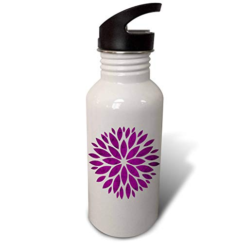 3dRose Anne Marie Baugh - Design - Contemporary Mum Flower with A Collage of Writing Overlay Design - Flip Straw 21oz Water Bottle (wb_307902_2)
