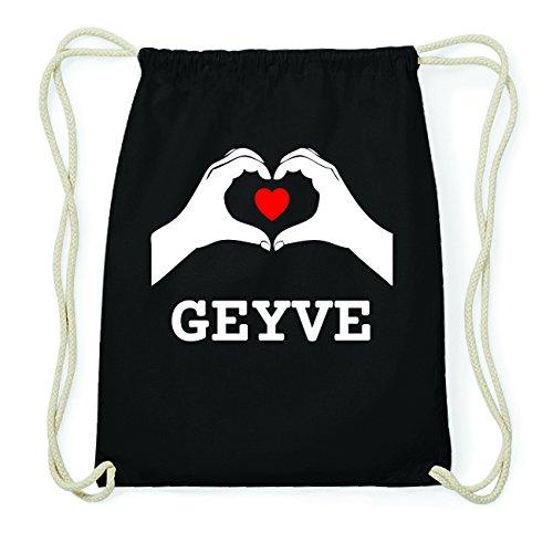 JOllify GEYVE Hipster Turnbeutel Tasche Rucksack aus Baumwolle - Farbe: schwarz Design: Hände Herz