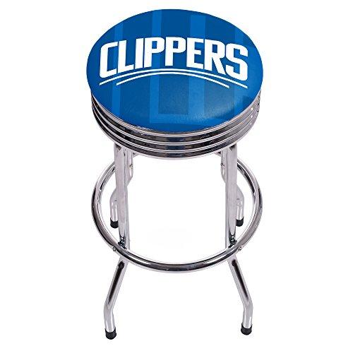 Los Angeles Clippers Bar Stool - Trademark Gameroom NBA1005-LAC2 NBA Chrome Ribbed bar Stool - Fade - Los Angeles Clippers