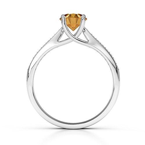 Or blanc 18carats 0,40CT G-H/VS sertie de diamants ronds Cut Citrine et bague de fiançailles Agdr-2054