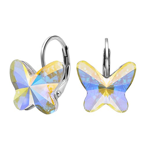 - EleQueen 925 Sterling Silver Butterfly Love Hoop Huggie Stud Earrings Iridescent Aurora Borealis AB Made with Swarovski Crystals