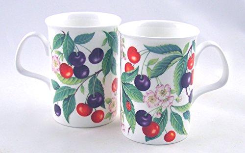 China England Bone Fine (Pair Fine English Bone China Mugs - Sweet Cherry Chintz - England)