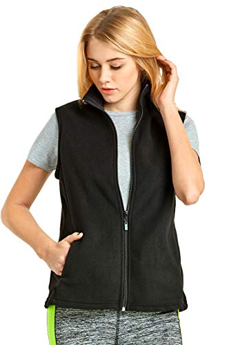 (ET TU Women's Zip Up Polar Fleece Vest Plus Size (2XL, Black))