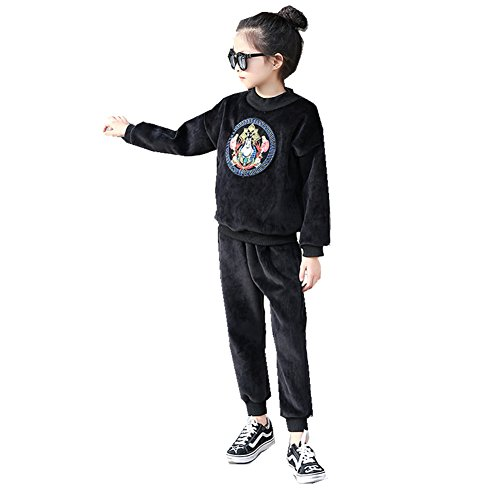 FTSUCQ Girls Pullover Fleeced Printed Tracksuits Sport Suits Coat + Pants,Black 160 (Baby First Tv Growth Chart)