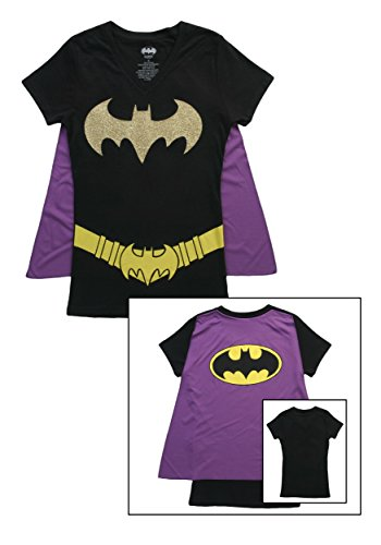 Batman Glittered Logo Juniors Black V-Neck Cape T-Shirt