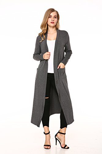 Mixfeer Womens Casual Knit Cardigan Maxi Sweaters Open Front Lightweight Coat with Long Sleeve