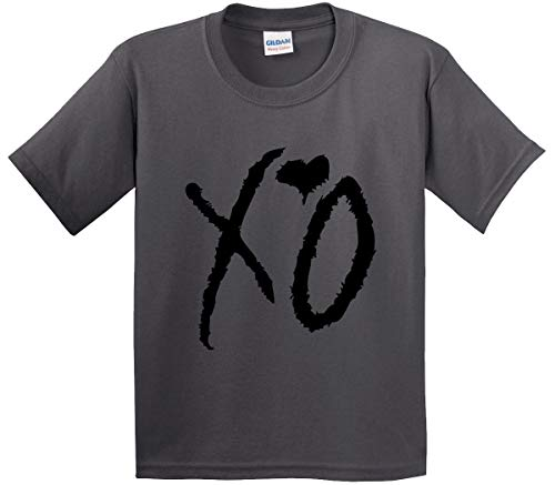 (Trendy USA 762 - Youth T-Shirt XO The Weeknd Heart Weekend Blackout Large Charcoal)