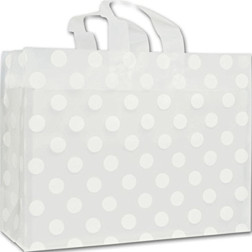 Egp Clear Frosted Flex Loop Shoppers 16 X 6 X 12  White Dots