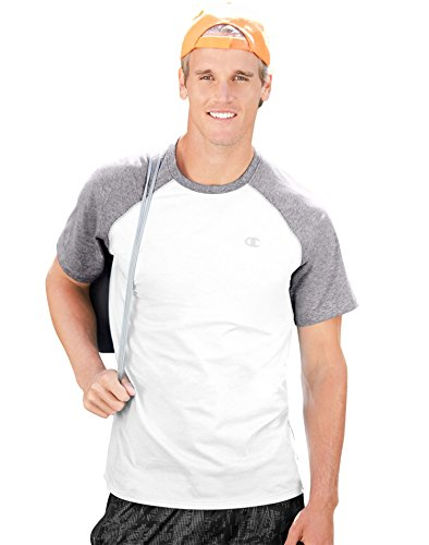 Champion Men's Vapor Cotton T-Shirt, White/Oxford Gray, Medium