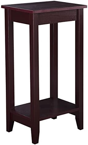 AK Energy Brown Slim Tall End Table Coffee Stand Night Side Nightstand Accent Furniture Bottom Shelf