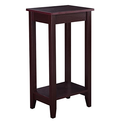 AK Energy Brown Slim Tall End Table Coffee Stand Night Side Nightstand Accent Furniture Bottom Shelf ()