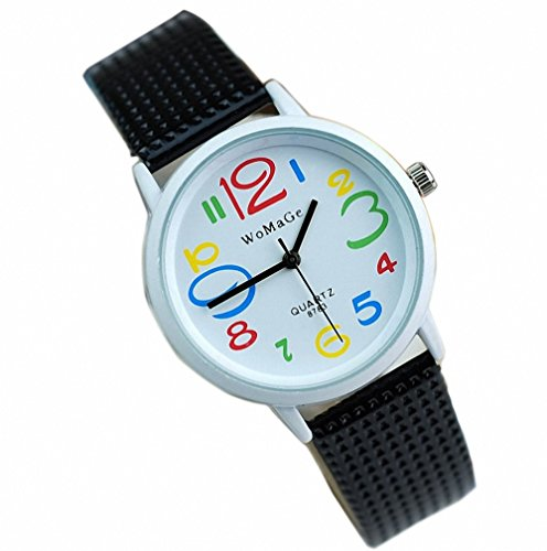 ital Dial Leather Strap Students Watches Casual Quartz Wrist Watch for Girls Black ()