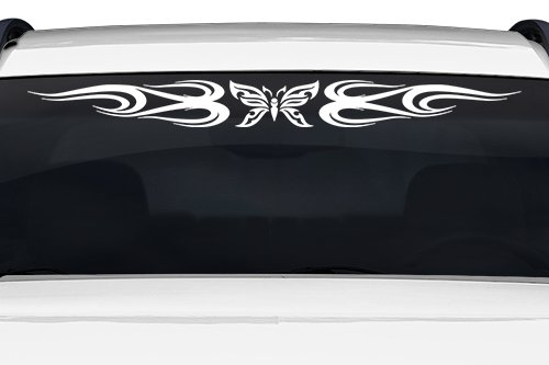 Sticky Creations - Design #132-01 Butterfly Tribal Swirl Swoosh Windshield Decal Sticker Vinyl Graphic Back Rear Window Banner Tailgate Car Truck SUV Van Go Cart Boat Trailer Wall | 36