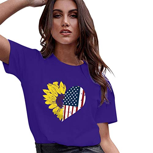 T-Shirts for Women Loose Leisure Blouse Sunflower American Flag Summer Tops - Drapes Purple Jersey