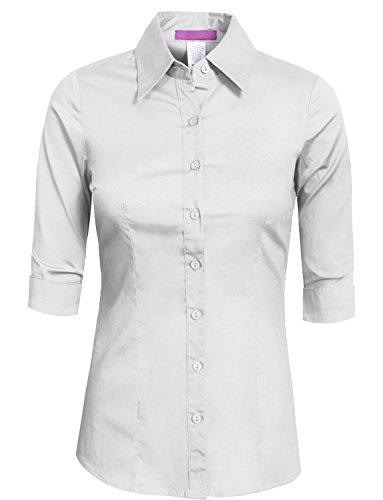 NE PEOPLE Womens Tailored 3/4 Sleeve Button Down Shirt Medium NEWT05-WHITE for $<!--$18.98-->