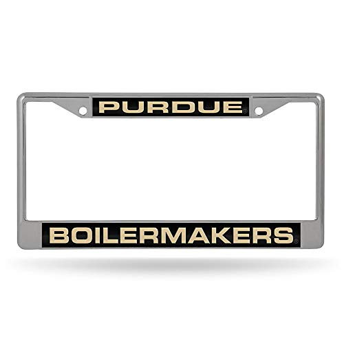 (NCAA Purdue Boilermakers Laser Cut Inlaid Standard Chrome License Plate Frame)