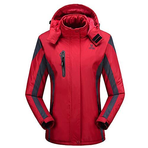 Veste De Pour Polaire Sport Coupe Capuche Rouge Doublé Manteau Randonnée Femme Imperméable vent Avec Softshell rwx84rqvn