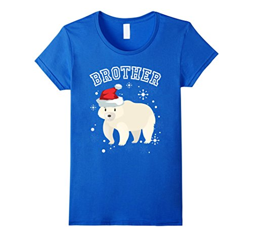 Brothers Female Costume Blues (Womens Brother Christmas Bear Costume Merry Christmas T-Shirt Small Royal)