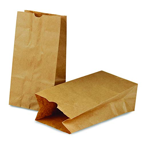Flat Bags Bottom Paper (Hygloss Products Brown Paper Bags - Gusseted Flat Bottom Kraft Lunch Bags - 5 x 3 x 9-3/4 Inch, 100 Pack)