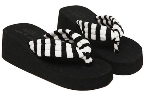Dayiss®Elegante Damen Sandaletten Steifte Plateausandaletten Zehntrenner Sandalen Strandschuhe Keilabsatz Freizeit Schuhe