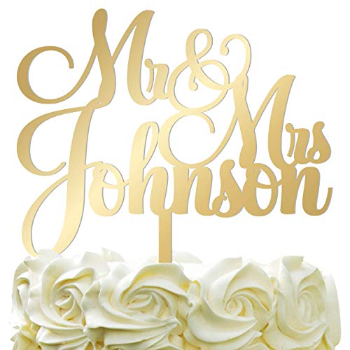 Personalized Wedding Cake Topper - Wedding Cake Decoration Customized Mr & Mrs Last Name To Be Bride & Groom script fontMirrored Acrylic (Wedding Top Rose Cake)