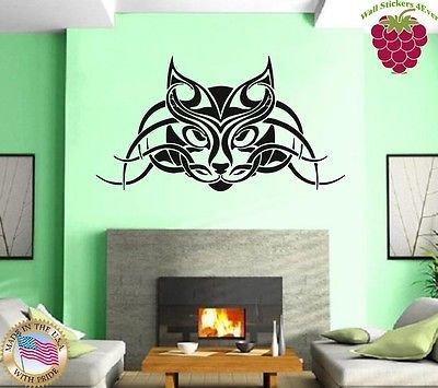 Wall Stickers Vinyl Decal Cat Pet Animal Tribal Tattoo Lynx vs757