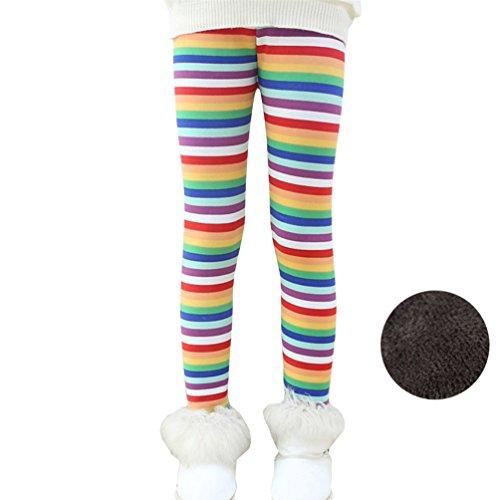 Bjinxn Girls Winter Thick Warm Long Pants Printing Fleece Lined Leggings 120 Rainbow