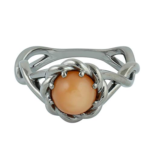 Peach Moonstone Ring - 925 Sterling Silver Moon Stone Fashion Rings for Women Size 8,