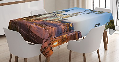 Ambesonne European Cityscape Decor Tablecloth, Old Cathedral and Royal Palace in Madrid Mediterrenean Mod City Europe Urban Print, Dining Room Kitchen Rectangular Table Cover, 60 X 90 inches